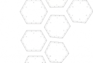 Building envelope: The nine pentagons and hexagons form the building envelope. This simple way of connecting the surfaces can only be done with flexible plastic. The surfaces overlap for increased strength along the edges and to let water run off, as with panes in traditional greenhouses.