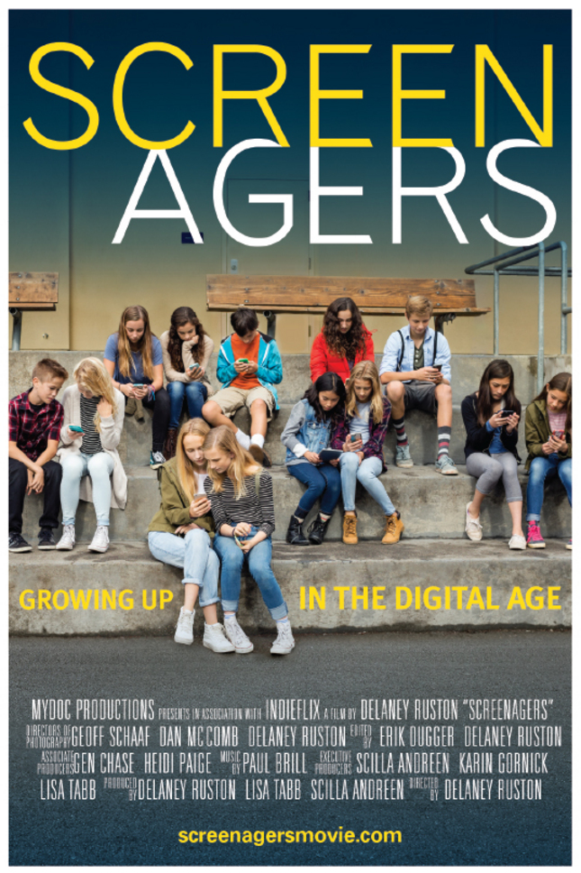 "The promotional poster for the documentary ""Screenagers."" The film will be schown at the Fairfax Theater on Jan. 25. (Provided by Lisa Tabb)"